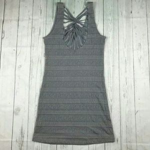 Free People size L gray strappy back mini dress